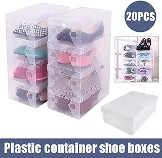 Generic e Case OrganizerBoxes Stackable Box Folding 20PCS Clear Plastic Boxes Stackable Shoe Storage Case Organizer 20PCS Clear Pl