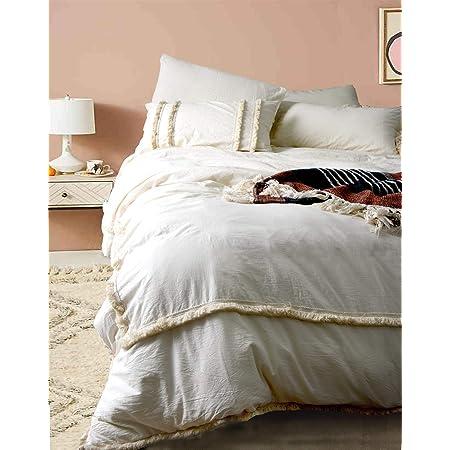 Flber Ivory Duvet Cover Tufted Boho Bedding Comforter Queen Size, 86in x90in