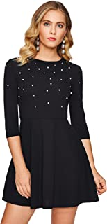 Floerns Women's Beaded Fit and Flare Short Skater Dress