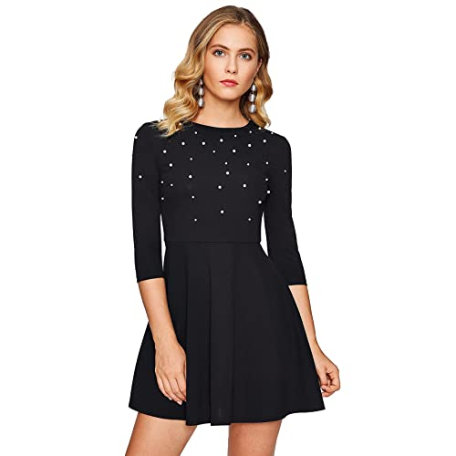 Floerns Women s Beaded Fit and Flare Short Skater Dress 5f039f8277