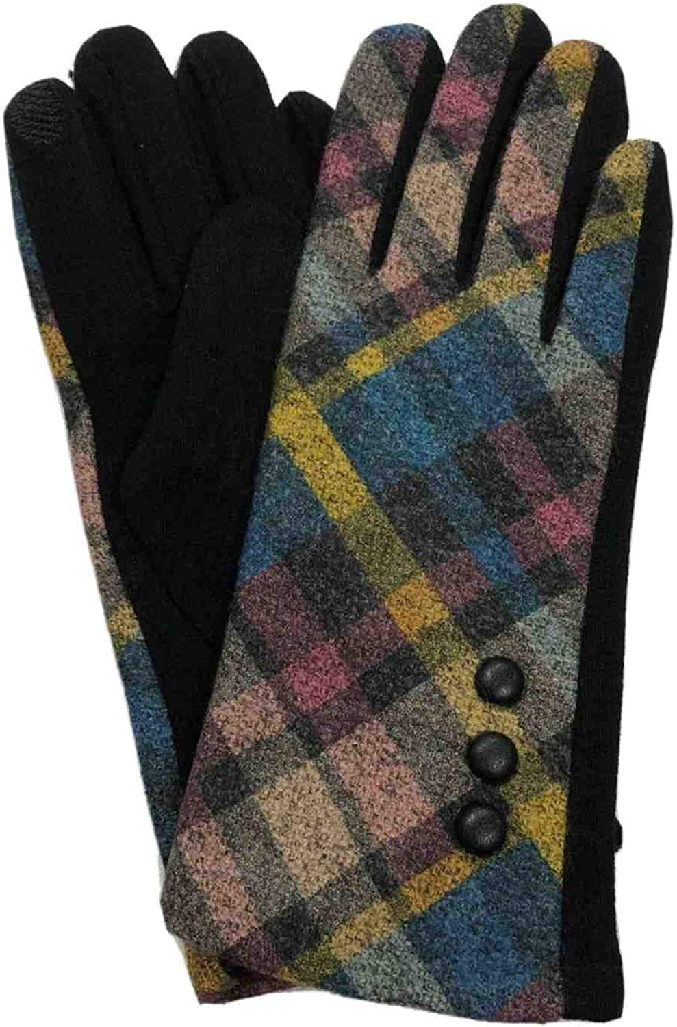 Womens Pink & Blue Button Plaid Stretch Fit Texting & Tech Touchscreen Gloves