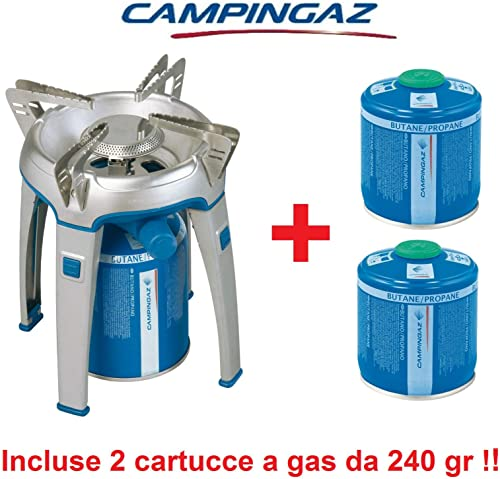 ALTIGASI Réchaud à gaz de Camping Bivouac avec piezo Puissance 2600W Marque + 2voituretouches à gaz Campingaz CV 300avec système Amovible Produit idéal pour Camping