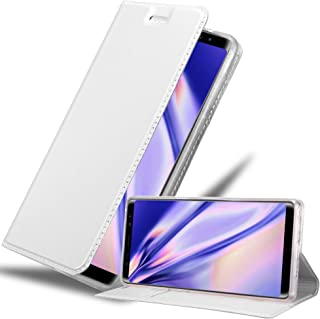 Cadorabo Book Case Works with Samsung Galaxy Note 8 in Classy Silver – with Magnetic Closure, Stand Function and Card Slot – Wallet Etui Cover Pouch PU Leather Flip