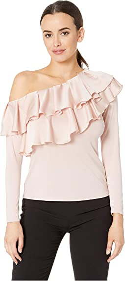 Long Sleeve Asymmetrical Tiered Ruffle Shoulder Mix Media Top