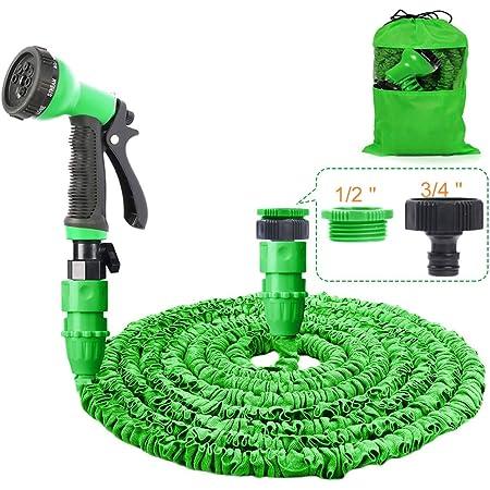 HOMOZE Garden Hose Pipe 100FT Garden Hose Expanding Flexible Magic Hosepipes with 8 Function Watering Gun/Storage Bag/ Tap Connectors (Green, 100FT)