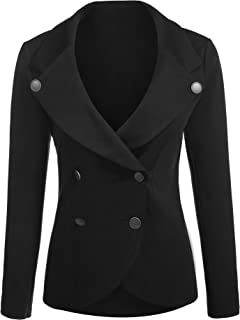 Women's Slim Fit Blazer Casual Work Double Breasted Peplum Crop Jacket