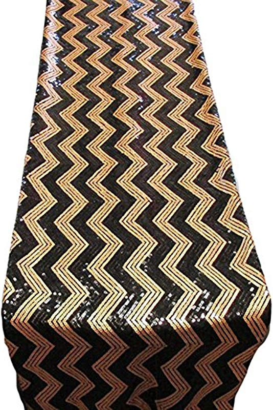 AK Trading 14 X 108 Chevron Sequin Table Runners Black Gold