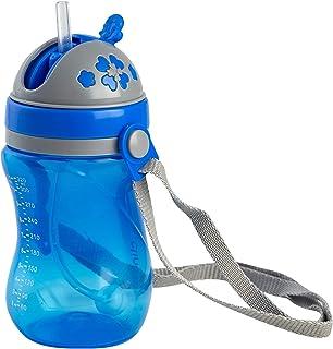 Copo Infantil Anatômica Com Canudo e Alça, Clingo, Azul