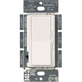 Lutron Diva LED+ Dimmer for Dimmable LED, Halogen and Incandescent Bulbs | 250-Watt, Single-Pole or 3-Way | DVCL-253P-WH | White