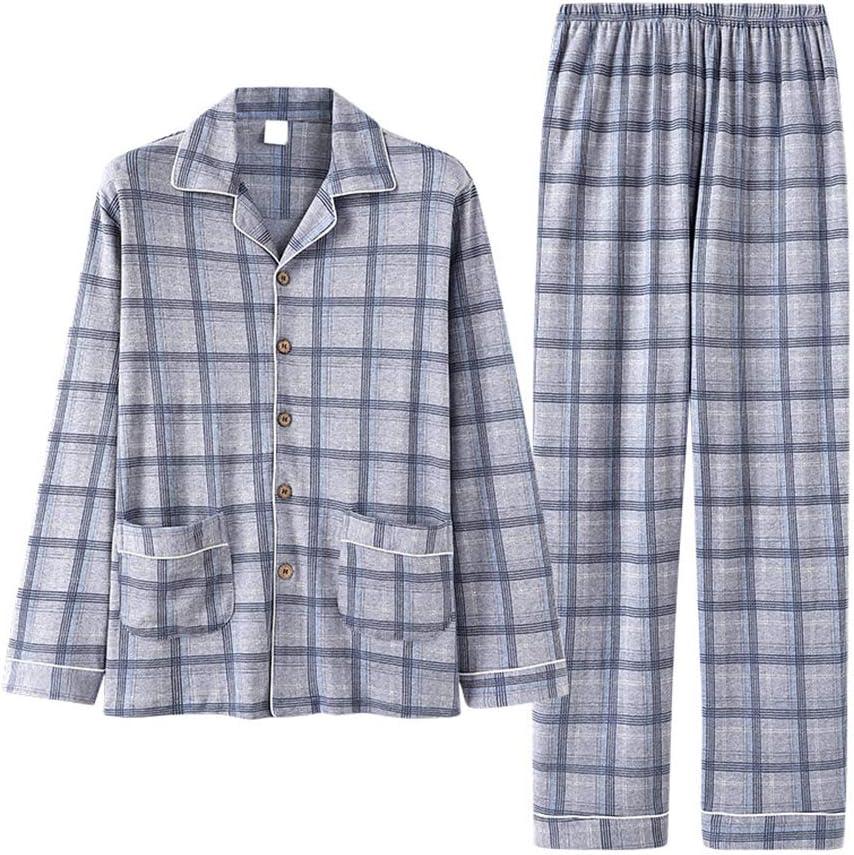 Lightweight Cotton Men Long Sleeve Pajamas Set,Autumn and Winter Woven Plaid Sleepwear Two Piece,Casual Comfortable Homewear,Gray,XL