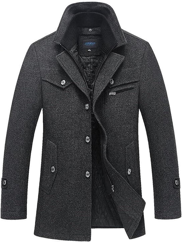 Mens Woolen Coat Autumn Winter Cotton Thicken Wool Blends Jacket Coats Tops Windproof Warm Trench Overcoats