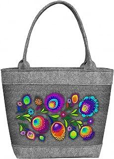 BERTONI Damen Tasche aus Filz Schultertasche Shopper Tragetasche Filztasche Bunte Muster Grau