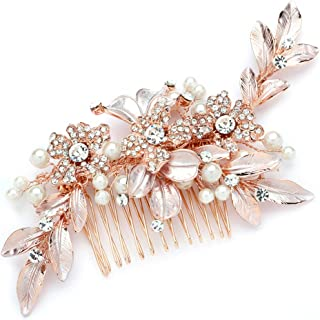 Mariell Rose Gold Designer Bridal Hair Comb Wedding Headpiece - Hand-Painted Leaves, Crystals & Pearls