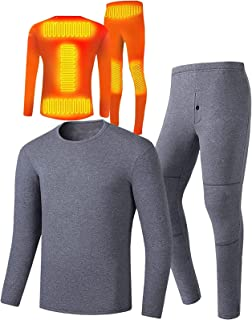Yokbeer Thermal Underwear Men Electric Heating Thermal Underwear Set USB Heated Thermal Underwear Men Winter Base Layer Se...