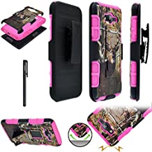 Samsung Galaxy J7 J700 (2015) ITUFFY (TM) Stylus Pen + Holster Combo Plastic Cover + Soft Rubber Silicone Built-in KickStand Impact Tuff Armor Case (Tree Deer Pink)
