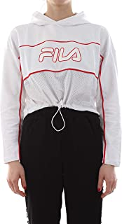 FILA Women's Romy Hooded Top Sweatshirt, White (Bright White), Medium
