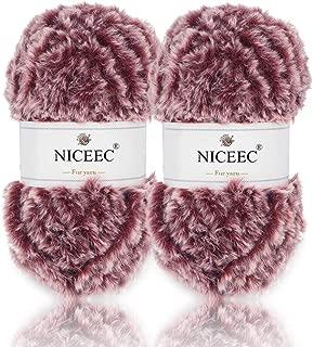 NICEEC 2 Skeins Super Soft Fur Yarn Chunky Fluffy Faux Fur Yarn Eyelash Yarn for Crochet Knit-Total Length 2×32m(2×35yds,50g×2)-Wine Red with White