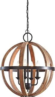 Ashley Furniture Signature Design Emilano Wood Pendant Light - Rustic Globe-Shaped - Black & Brown