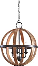 wood globe light