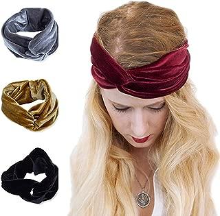 AWAYTR Turban Headwrap Headband for girls Vintage Velvet Soft Elastic Hair Bands