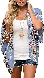PRETTODAY Women Floral Kimono Loose Half Sleeve Shawl Chiffon Casual Cardigan