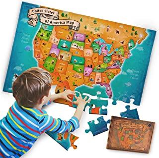 aGreatLife Complete States of The USA Floor Map Puzzle for Kids - Learn United States Geography, Extra-Thick 51 Card Boards, Tightens When Connected (69.85 cm Width x 46.65 cm. Length)