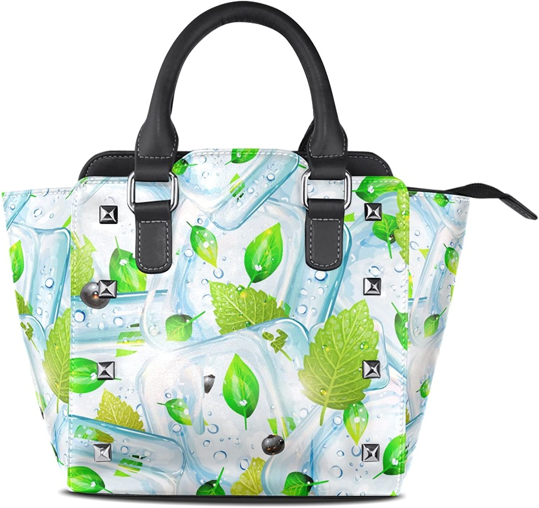 My Little Nest Women's Top Handle Satchel Handbag Ice Cubes Ladies PU Leather Shoulder Bag Crossbody Bag