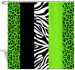 OneHoney Lime Green Animal Print Stripes Zebra Leopard,Waterproof and Mildewproof Polyester Fabric Bath Curtain Extra Long 72x72inch
