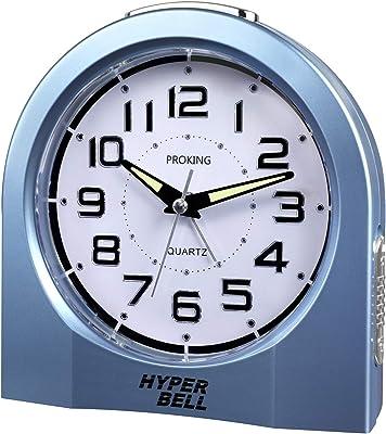 PROKING目覚まし時計 置き時計 アラーム クロック アナログ 日本製クォーツムーブメント 数字大きい見やすい アラビア数字 連続秒針 ルミブライト時分針 時分針に蓄光塗料付き 大音量 ベル音&音楽選択可能(ブルー)