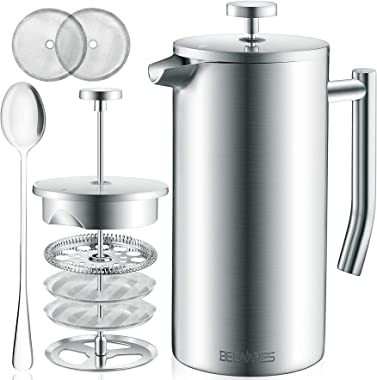 Large French Press Coffee Maker - Double Wall 304 Stainless Steel - 4 Level Filtration System with 2 Extra Filters, Silver, 5
