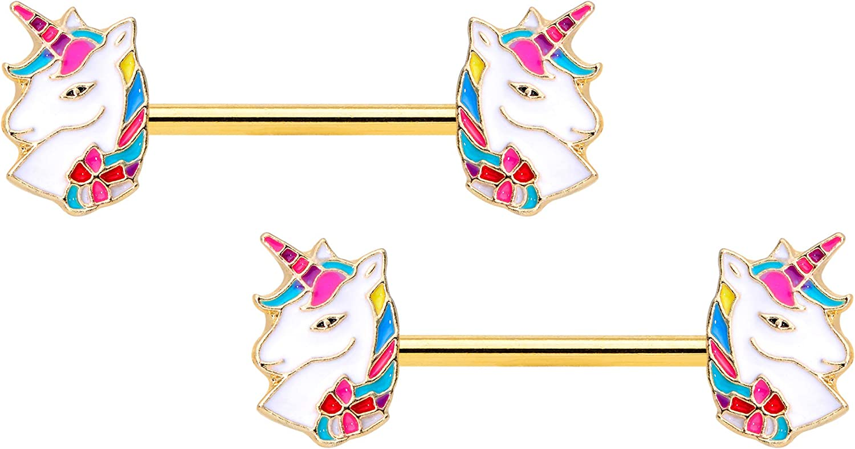Body Candy 14G Womens Nipplerings Piercing PVD Steel 2Pc Rainbow Mane Unicorn Nipple Ring Set 9/16