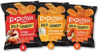 Popchips Ridges Potato Chips Variety Pack, Single Serve 0.8 Ounce Bags (Pack of 24), 3 Flavors: 8 Tangy BBQ, 8 Cheddar & Sour Cream, 8 Buffalo Ranch