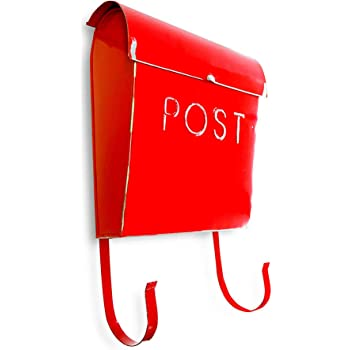 NACH TH-10019 Wall Mounted Euro Aged Mailbox with Newspaper Holder, Royal, 12 x 11.2 x 4.5 Inches, RUSTIC RED
