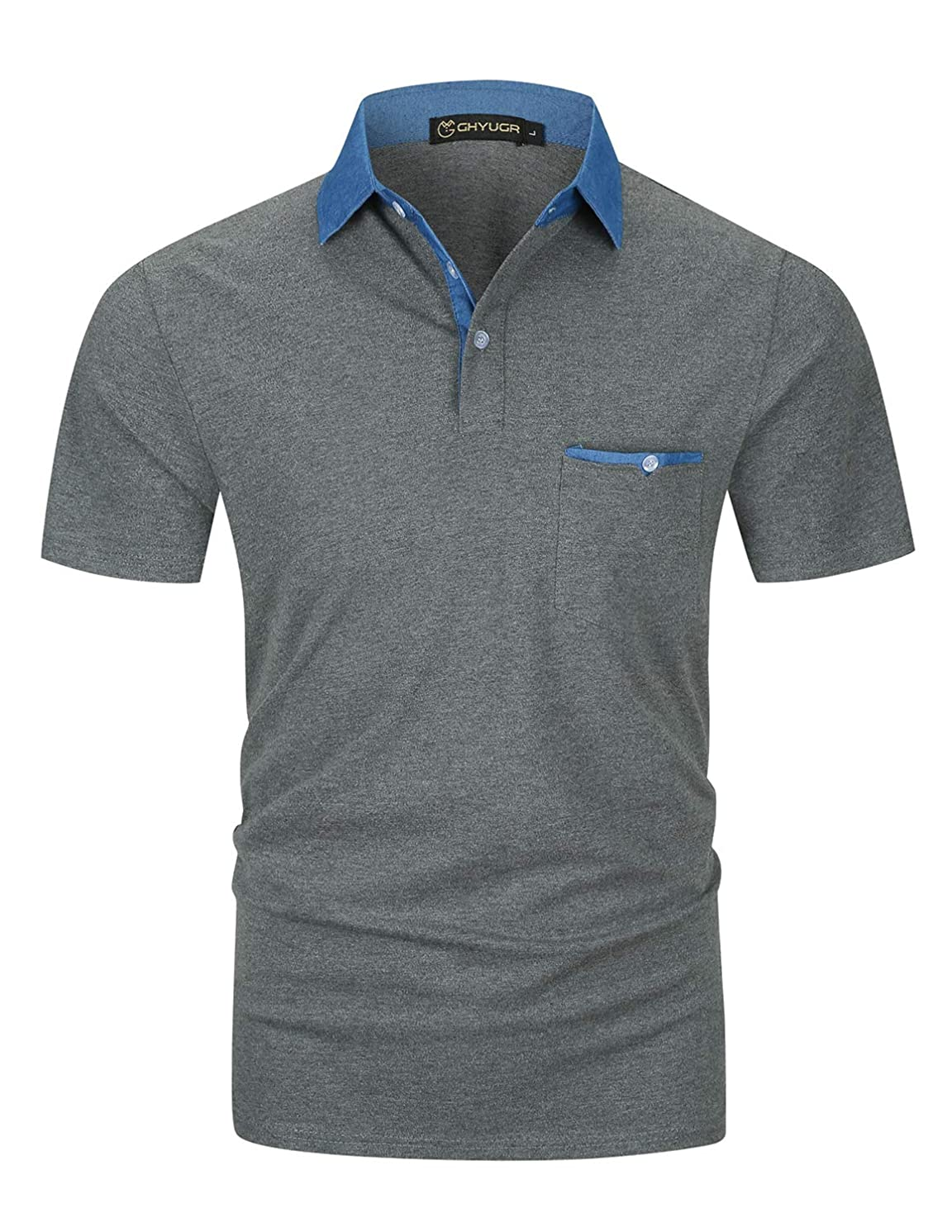 GHYUGR Men's Short Sleeve Poloshirts Denim Splice Cotton Golf T-Shirt Casual Polos Tops