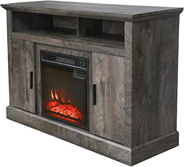 """PatioFestival Electric Fireplace TV Stand Entertainment Center Corner Fire Place Heaters Tv Console with Generic Rustic Furniture for TVs up to 42"""" Wide, Rustic"""