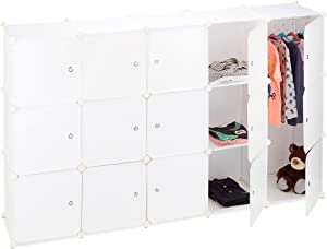 Relaxdays Armario Modular con 11 Compartimentos y 2 Barras, Plástico, Blanco, 181 x 110 x 37 cm