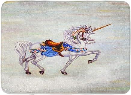 Doormats Bath Rugs Outdoor/Indoor Door Mat Colorful Oil Original Painting of Unicorn on Cloud Carousel Horse Canvass Bathroom Decor Rug Bath Mat