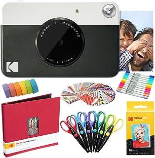 KODAK Printomatic Cámara instantánea (Negro) Paquete de Arte con Papel fotográfico Zink (20 Hojas) y más