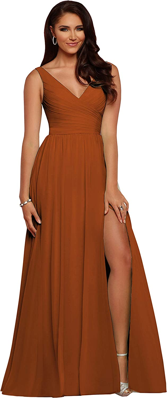 Women's V Neck Bridesmaid Dresses Long Chiff 5 ☆ very popular Trust Pleated A Slit Line