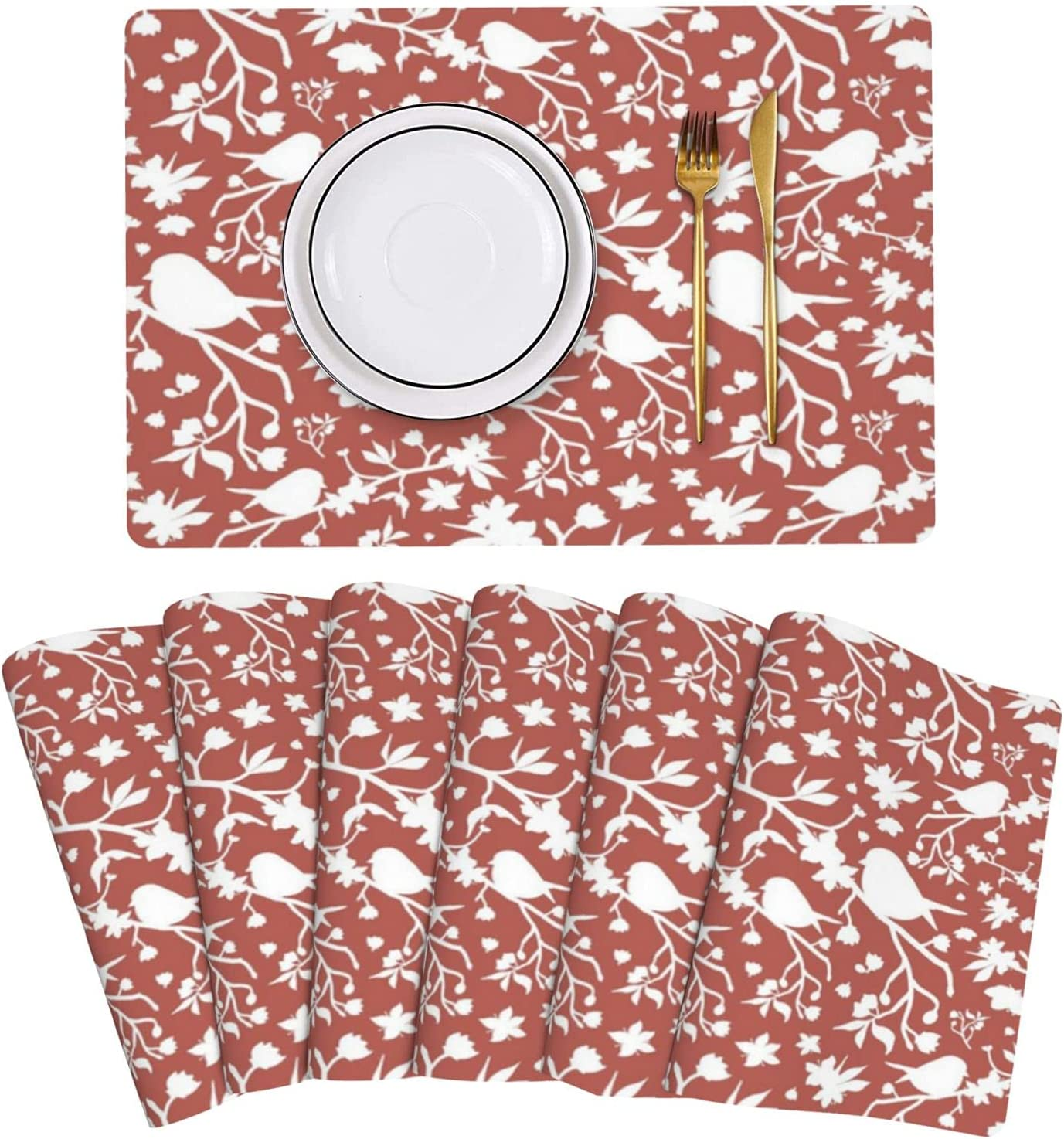 Spring Full San Jose Mall of Hope White On Set Placemats High order 6 Cinnamon Leather