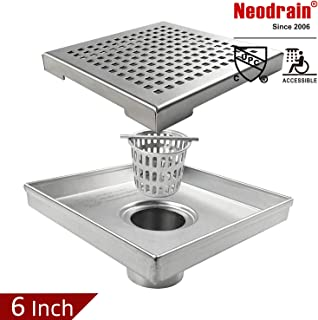 Neodrain Square Shower Drain with Removable Quadrato Pattern Grate, 6-Inch, Brushed 304 Stainless Steel, with WATERMARK&CUPC Certified …