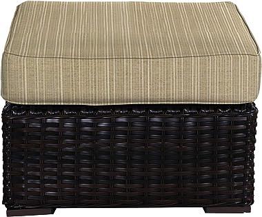 Envelor Santa Monica Outdoor Patio Furniture Durable Wicker Rattan Ottoman Stool Foot Rest Includes Bamboo Dupione Sunbrella