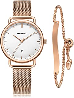 MAMONA Women's Watch Bracelet Set Accented Rose Gold Stainless Steel L3891RGGT