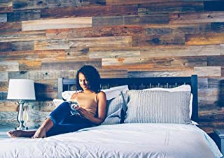 Weekend Walls - Reclaimed Weathered Redwood - DIY Easy Peel and Stick Wood Wall Paneling (40 Sq Ft, Natural)