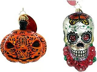 Christopher Radko Skull & Jack O Lantern Pumpkin Glass Ornaments Day of The Dead Halloween