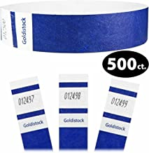 """Tyvek Wristbands - Goldistock Select Series Vibrant Navy Blue 500 Count - ¾"""" Arm Bands - Paper-Like Party Armbands - Fan-Folded (Better Security) - Heavier Tyvek Wrist Bands = Upgrading Your Event"""