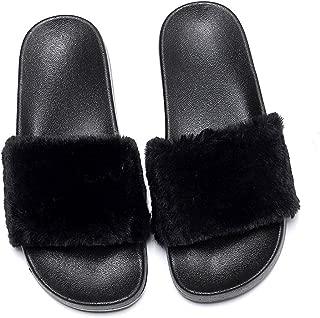 Charles Albert Slides for Women Faux Fur Slides Marabou Flat Fur Slides Women Slippers Sandal