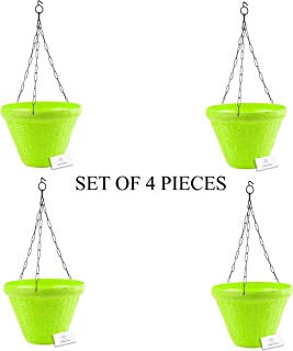 Unique Plastic Hanging Pot with Metal Chain (Green, Pack of 4)
