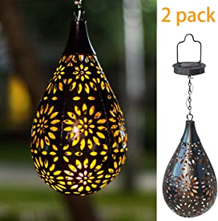 BOAER [Set of 2] Hanging Solar Lights, Outdoor Garden LED Flower Boho Waterproof Decorative Metal Light for Porch Garden Outdoor