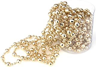 Inxens 16.5(ft) Gold Bead Garland Christmas Tree Garland Beads for Christmas Decorations (Champagne Gold)